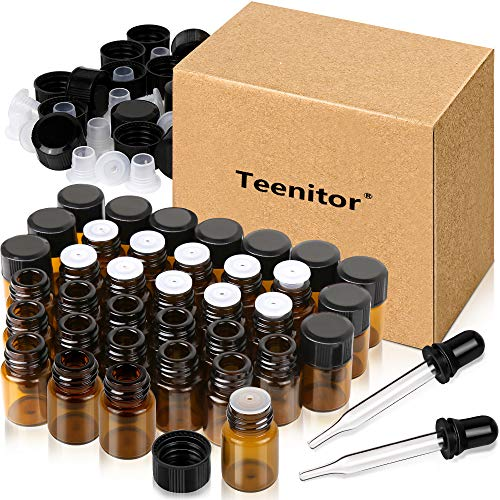 Oil Bottles for Essential Oils, Teenitor 36 Pcs 2 ml (5/8 Dram) Amber Glass Vials Bottles, with Orifice Reducers and Black Caps, with 2 Free Glass Transfer Eye Droppers [USA Seller] Shipping by FBA