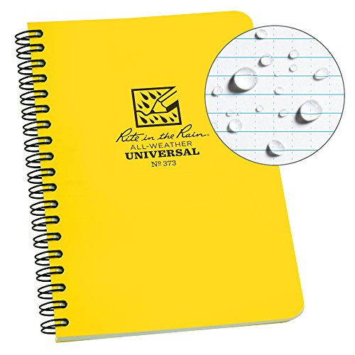 Rite in the Rain All-Weather Side-Spiral Notebook, 4 5/8″ x 7″, Yellow Cover, Universal Pattern (No. 373)