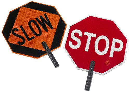 """Cortina ABS Plastic Pole Mounted Paddle Sign, """"STOP/SLOW"""", 03-851, 18″ Sign with 9″ Polygrip Handle, Red on Orange"""